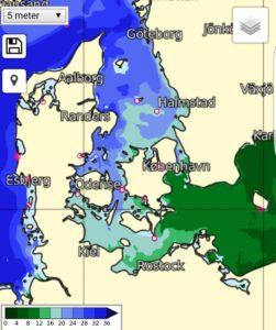 fcoo.dk, salinitet og kystfiskeri efter havørred.